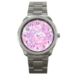 Lovely Allover Ring Shapes Flowers Pink Sport Metal Watches