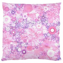 Lovely Allover Ring Shapes Flowers Pink Large Cushion Cases (two Sides)  by MoreColorsinLife