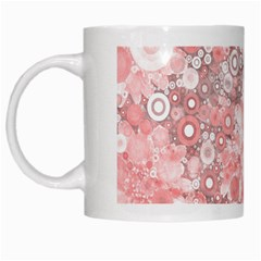 Lovely Allover Ring Shapes Flowers White Mugs