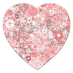 Lovely Allover Ring Shapes Flowers Jigsaw Puzzle (heart) by MoreColorsinLife