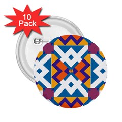 Shapes In Rectangles Pattern 2 25  Button (10 Pack) by LalyLauraFLM