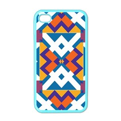 Shapes In Rectangles Pattern Apple Iphone 4 Case (color) by LalyLauraFLM