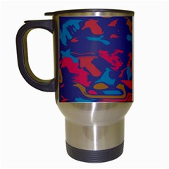 Chaos In Retro Colors Travel Mug (white) by LalyLauraFLM