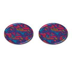 Chaos In Retro Colors Cufflinks (oval) by LalyLauraFLM