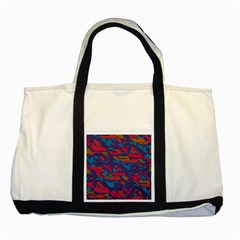 Chaos In Retro Colors Two Tone Tote Bag by LalyLauraFLM