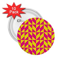Pink And Yellow Shapes Pattern 2 25  Button (10 Pack) by LalyLauraFLM