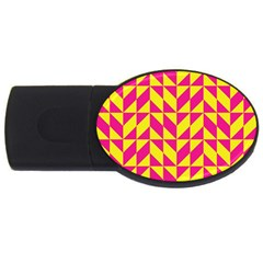 Pink And Yellow Shapes Pattern Usb Flash Drive Oval (4 Gb) by LalyLauraFLM