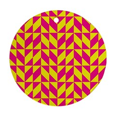 Pink And Yellow Shapes Pattern Round Ornament (two Sides) by LalyLauraFLM