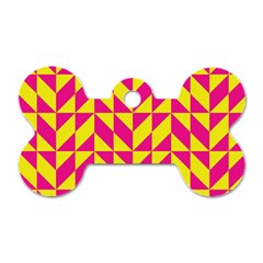 Pink And Yellow Shapes Pattern Dog Tag Bone (one Side) by LalyLauraFLM