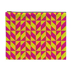 Pink And Yellow Shapes Pattern Cosmetic Bag (xl)