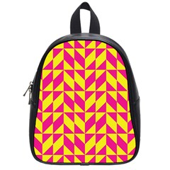Pink And Yellow Shapes Pattern School Bag (small) by LalyLauraFLM