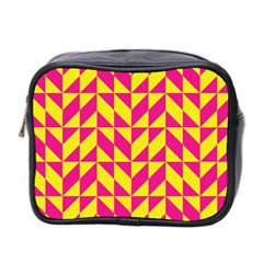 Pink And Yellow Shapes Pattern Mini Toiletries Bag (two Sides) by LalyLauraFLM