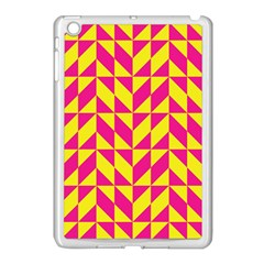 Pink And Yellow Shapes Pattern Apple Ipad Mini Case (white) by LalyLauraFLM