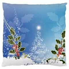 Christmas Tree Large Flano Cushion Cases (one Side)  by FantasyWorld7