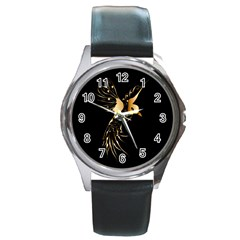 Beautiful Bird In Gold And Black Round Metal Watches