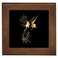 Beautiful Bird In Gold And Black Framed Tiles