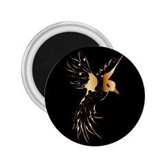 Beautiful Bird In Gold And Black 2 25  Magnets
