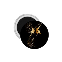 Beautiful Bird In Gold And Black 1 75  Magnets by FantasyWorld7
