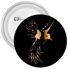 Beautiful Bird In Gold And Black 3  Buttons
