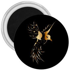 Beautiful Bird In Gold And Black 3  Magnets