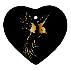 Beautiful Bird In Gold And Black Ornament (heart)