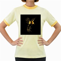 Beautiful Bird In Gold And Black Women s Fitted Ringer T Shirts