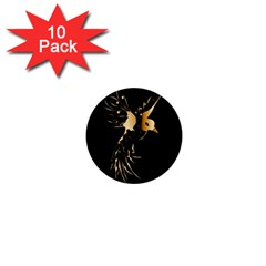 Beautiful Bird In Gold And Black 1  Mini Buttons (10 Pack)