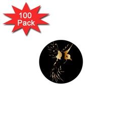 Beautiful Bird In Gold And Black 1  Mini Buttons (100 Pack)