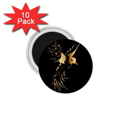 Beautiful Bird In Gold And Black 1 75  Magnets (10 Pack)
