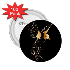 Beautiful Bird In Gold And Black 2 25  Buttons (100 Pack)