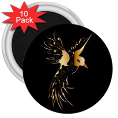 Beautiful Bird In Gold And Black 3  Magnets (10 Pack)