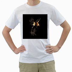 Beautiful Bird In Gold And Black Men s T Shirt (white) (two Sided)