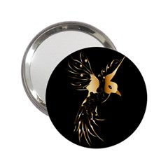 Beautiful Bird In Gold And Black 2 25  Handbag Mirrors