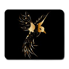 Beautiful Bird In Gold And Black Large Mousepads