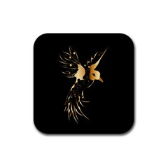 Beautiful Bird In Gold And Black Rubber Coaster (square)