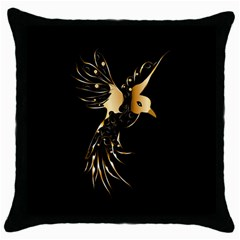 Beautiful Bird In Gold And Black Throw Pillow Cases (black)