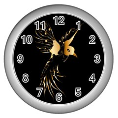 Beautiful Bird In Gold And Black Wall Clocks (silver)