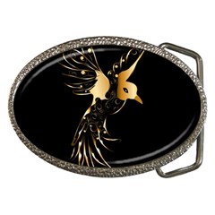 Beautiful Bird In Gold And Black Belt Buckles