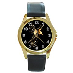 Beautiful Bird In Gold And Black Round Gold Metal Watches