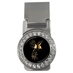 Beautiful Bird In Gold And Black Money Clips (cz)