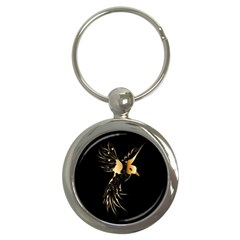 Beautiful Bird In Gold And Black Key Chains (round)