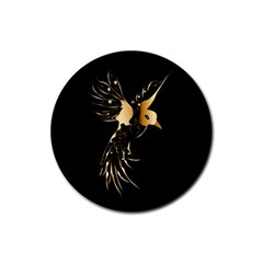 Beautiful Bird In Gold And Black Rubber Coaster (round)