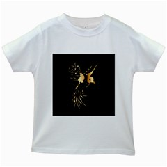 Beautiful Bird In Gold And Black Kids White T Shirts