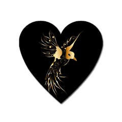 Beautiful Bird In Gold And Black Heart Magnet