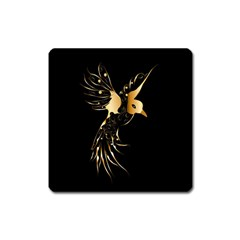 Beautiful Bird In Gold And Black Square Magnet