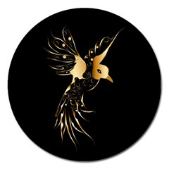 Beautiful Bird In Gold And Black Magnet 5  (round)