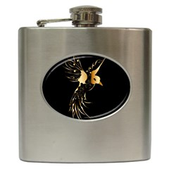 Beautiful Bird In Gold And Black Hip Flask (6 Oz)