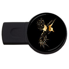 Beautiful Bird In Gold And Black Usb Flash Drive Round (2 Gb)