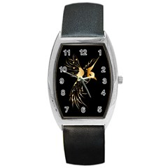 Beautiful Bird In Gold And Black Barrel Metal Watches