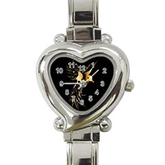 Beautiful Bird In Gold And Black Heart Italian Charm Watch